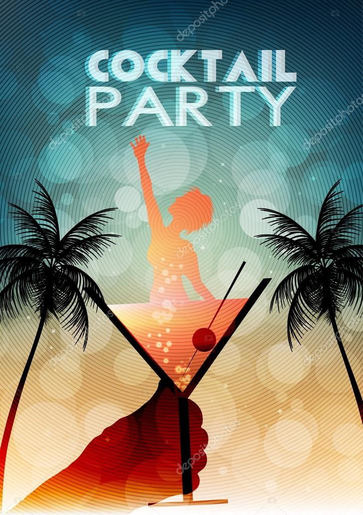 cocktail party invite template - cocktail party invitation poster template vector