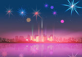 City Skyline at Night with Reflections and Fireworks Display Background - Vector Illustration — Stock Vector
