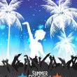 Summer Beach Party Flyer with Dancing People - Vector Illustration — Stock Vector #51178905