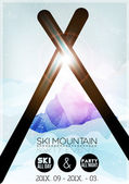 Ski Party Poster Template with Mountain in Clouds - Vector Illustration — Stock Vector