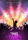 Dance Party Poster Background Template - Vector Illustration — Stock Vector
