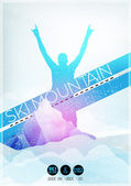 Ski Party Poster Template with Mountain in Clouds - Vector Illustration — Stockvector