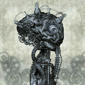 Portrait of an antique Cyborg — Stock Photo