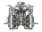 Två-cylindern motorn — Stockfoto