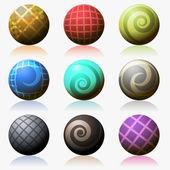 набор различных цвета глянцевой сферы изолирован на белом — Cтоковый вектор