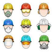 Set of worker icons in helmet with protective elements — Stock Vector