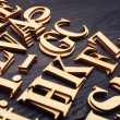 Random Wooden Letterpress Alphabet — Stock Photo #47012785