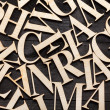 Random Wooden Letterpress Alphabet — Stock Photo