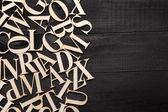 Random Wooden Letterpress Alphabet — Stock Photo