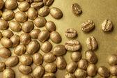 Golden coffee beans — Stock Photo