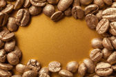 Golden coffee beans — Stock Photo