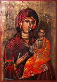 Virgin Mary holding the Child Jesus Eastern Orthodox Icon — Stock Photo