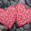 Two fabric hearts — Stock Photo #48054195