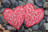 Two fabric hearts — Stockfoto