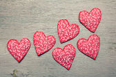 Fabric hearts — Stock Photo