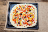 Raw uncooked pizza pie — Foto Stock
