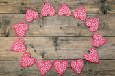 Red Fabric hearts — Stock Photo