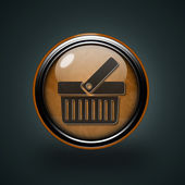 Shopping cart circular icon on white background — Stock Photo