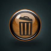 Trash can circular icon on white background — Stock Photo