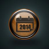 Calendar circular icon on white background — Stock Photo