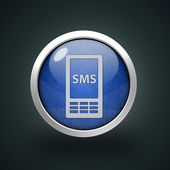 Sms circular icon on white background — Stock Photo