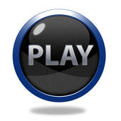 Play circular icon on white background — Stock Photo