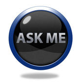 Ask me circular icon on white background — Stock Photo