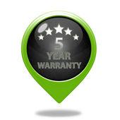 Five year warranty pointer icon on white background — Stock Photo