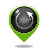 360 degrees pointer icon on white background — Stock Photo
