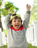 The little funny boy closeup portrait in good mood — Stock Photo