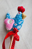 Handmade fabric rooster — Stock Photo
