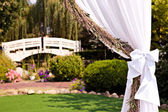 Wedding arch with a chandelier and lavender — Stock Photo