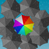 Color and grey umbrellas on rainy background — Stock Vector