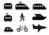 Icons with different transport types — Stock Vector