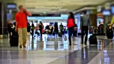 Airport Travelers Time Lapse — Stock Video