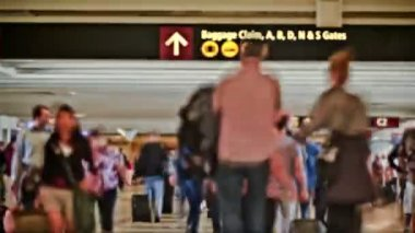 Airport Travelers Time Lapse People — Stock Video