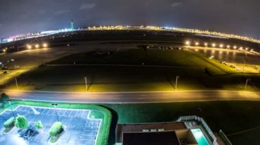Airplane Time Lapse Airport Fisheye — Stock Video
