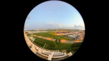 Airplane Time Lapse Airport Fisheye Circle — Stock Video