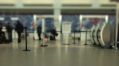 Airport Travelers Check-in Area Tilt Shift — Stock Video