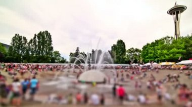 Anonymous Large Crowd Time Lapse Fountain — Stock Video
