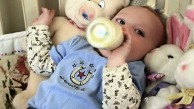 Baby Drinking Bottle Sequence — Vídeo Stock
