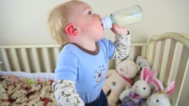 Baby Drinking Bottle — Stock Video
