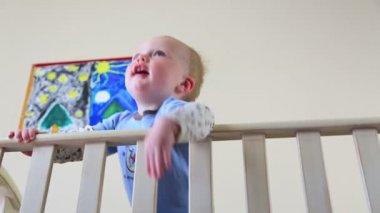 Baby In Crib Dolly — Vídeo Stock