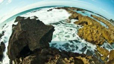 Unique rocky coastline — Stock Video