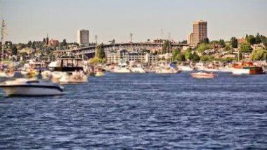 Boat traffic time lapse in Lake Union. — Stock Video