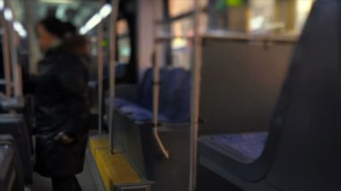 On public bus ride in New York City. — Stockvideo