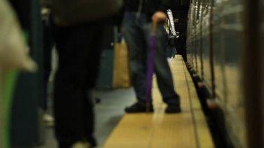 New york subway train arriving — Stock Video