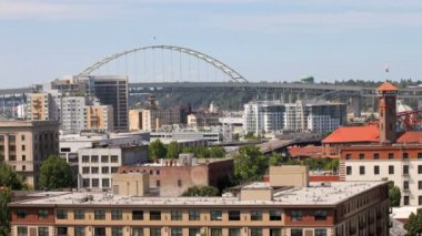 Portland bridge and city. — Stock Video