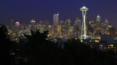 Seattle cityscape after sunset — Stock Video