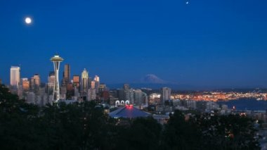 Seattle cityscape night — Stock Video